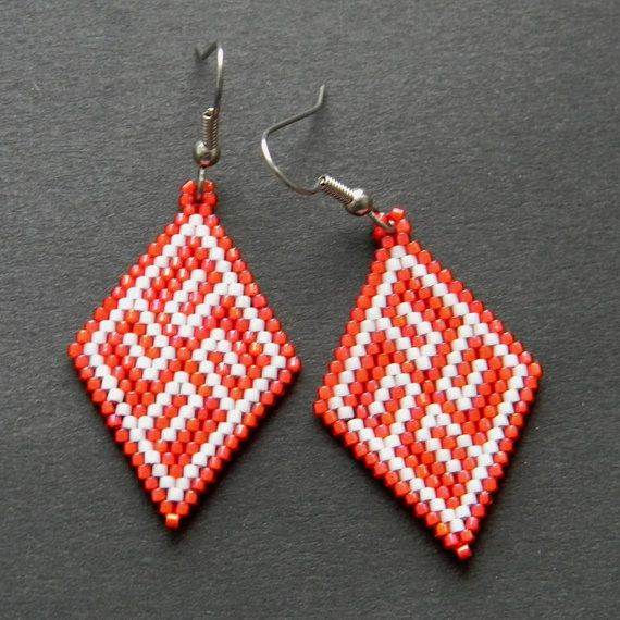 ethnic seed bead earrings with traditional by on etsy