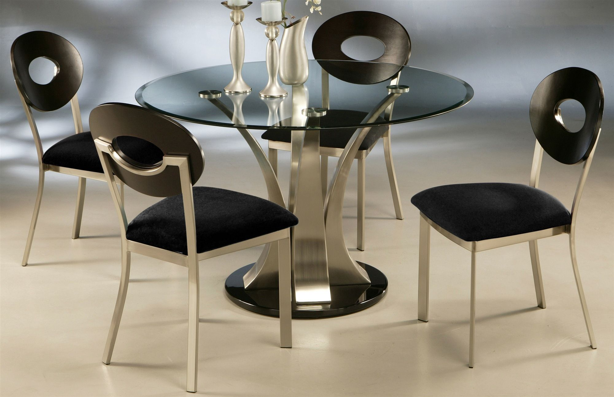 Dining Table With Glass Top In Black Metal Finish