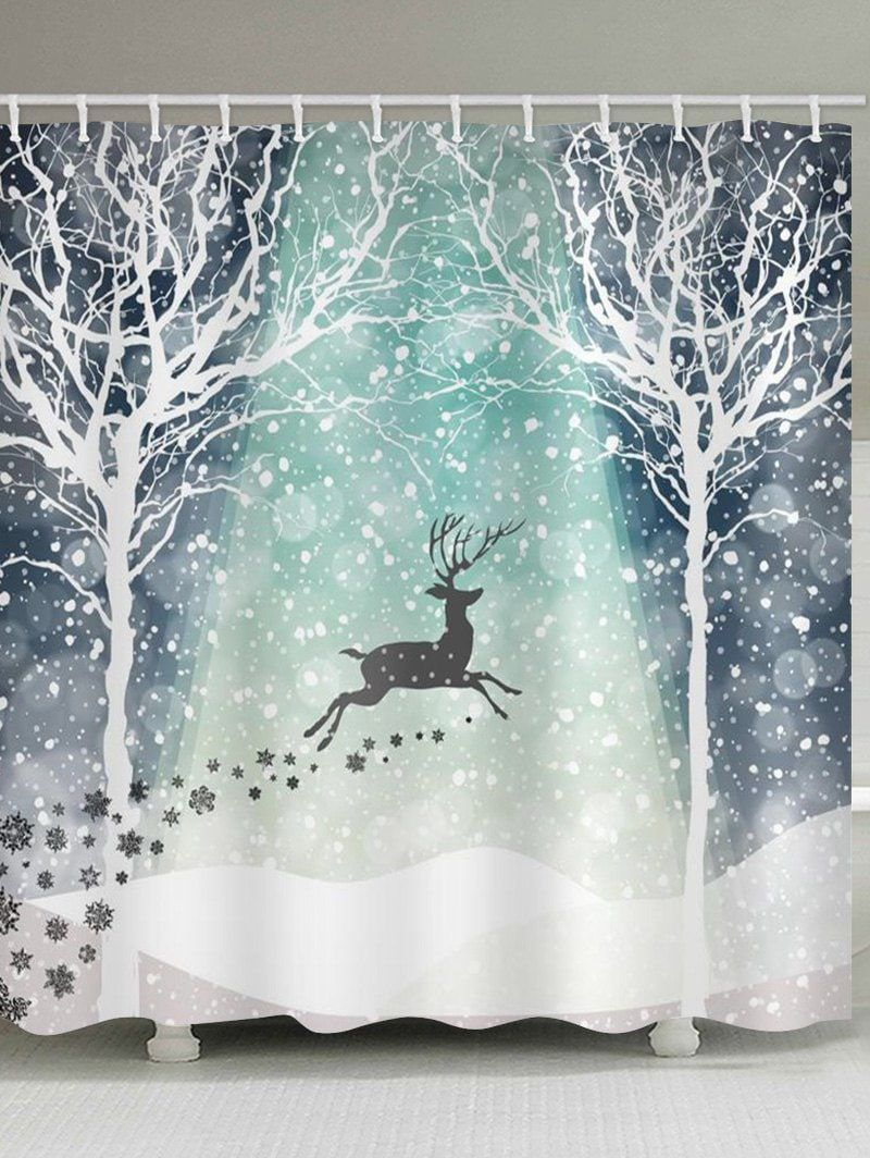 Christmas Snowflake Deer Waterproof Shower Curtain In 2020