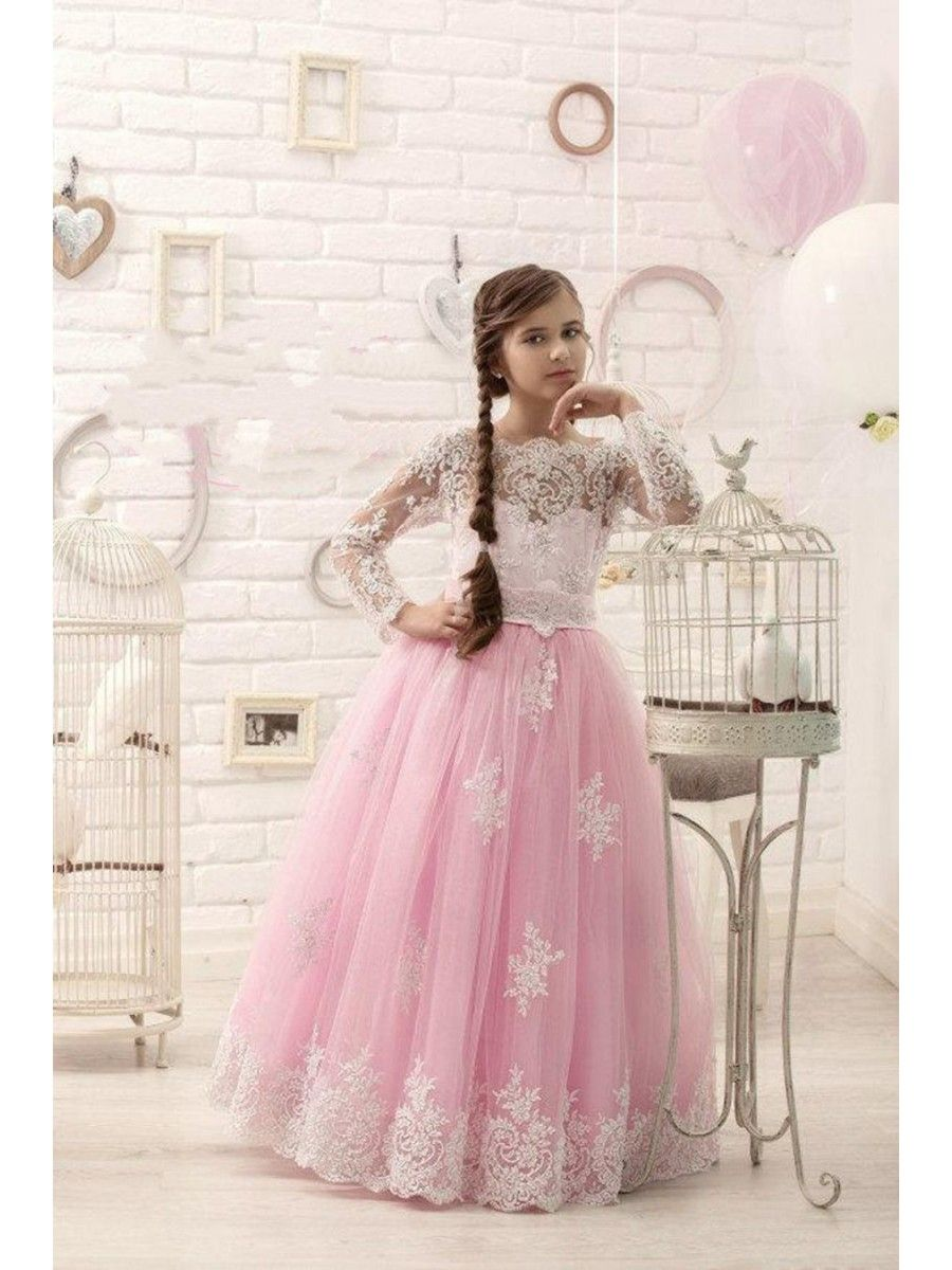 24085618a Long Sleeves Pink Lace Tulle Princess Ball Gown Flower Girl Dresses ...