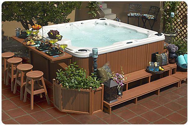 5 Ways To Improve Your Spa Or Hot Tub Appeal Hottubworks Blog Hot Tub Surround Hot Tub Backyard Hot Tub Deck