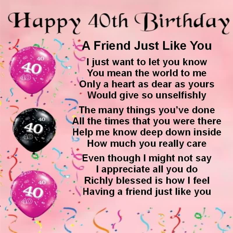 Happy 40th Birthday To Best Friend Wishes Graphic Jpg 800 Happy 40th Birthday Wishes