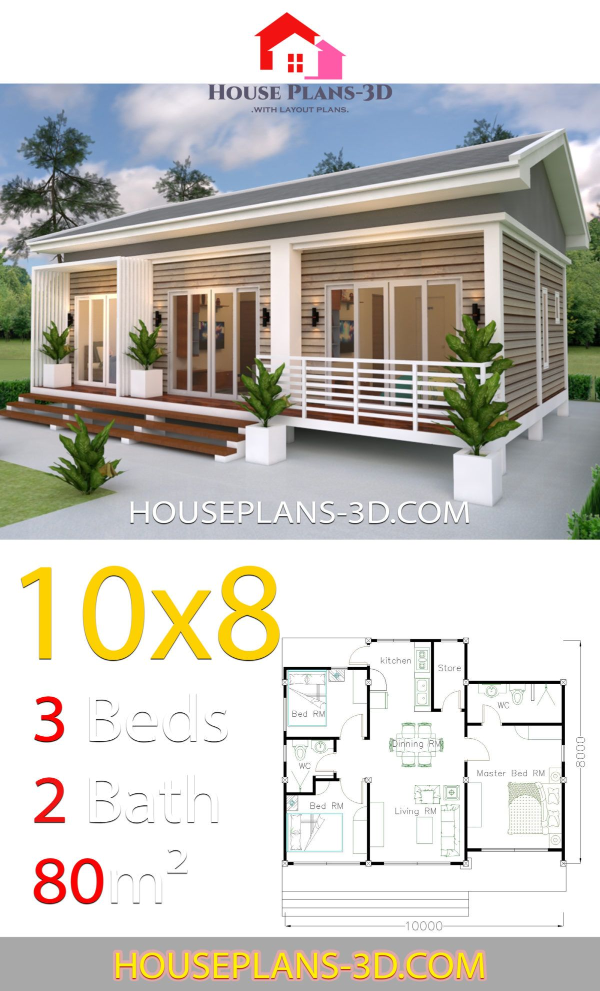 House Plans 10x8 With 3 Bedrooms Gable Roof House Plans 3d House Plans Beautiful House Plans Gable Roof House