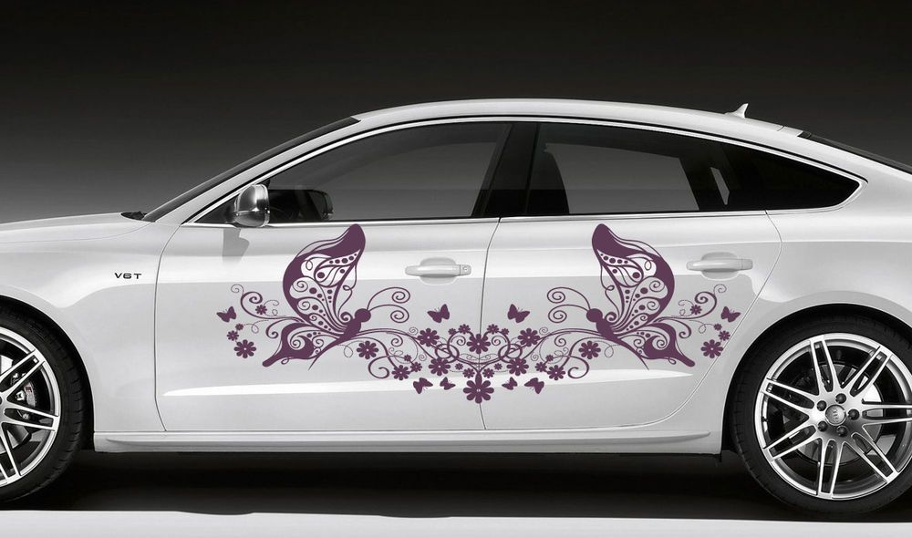 Car Vinyl Sticker Graphics Floral Pattern With Butterfly A - Vinyl transfers for cars