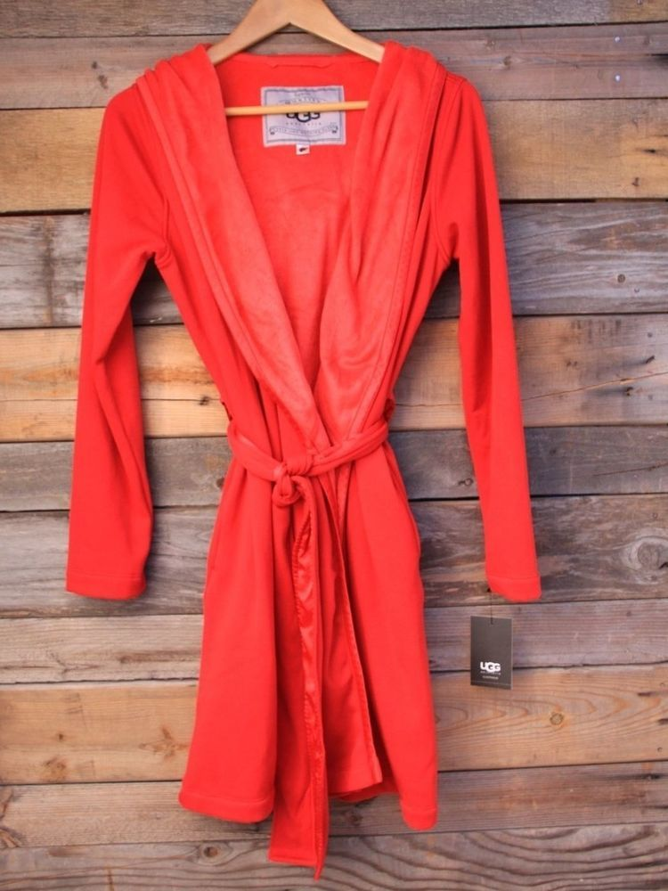 3f7d94f618 UGG Australia Womens Sofiee Ribbon Red Cotton FleeceLoungewear Robe Small S   UGGAustralia  Robes