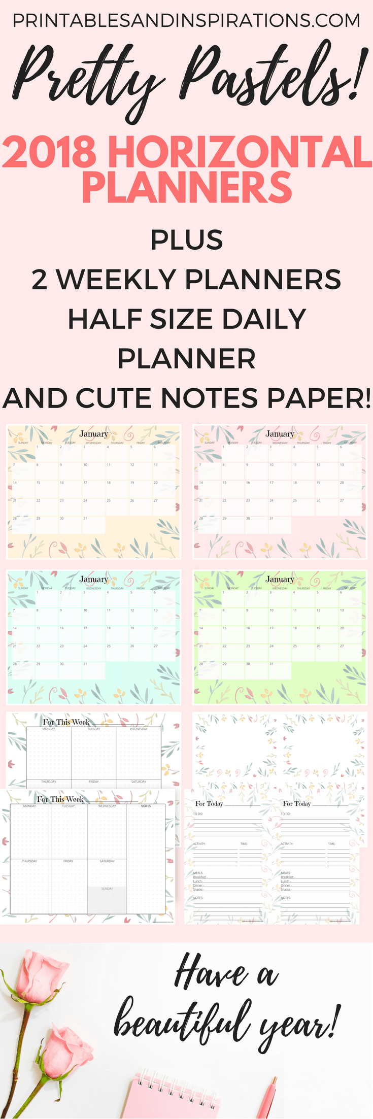Free Printable 2018 Horizontal Planner In Pretty Pastel Colors ...