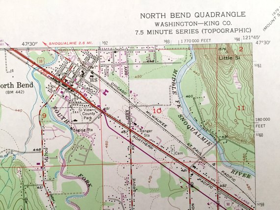 Antique North Bend Washington 1953 Us Geological Survey Topographic