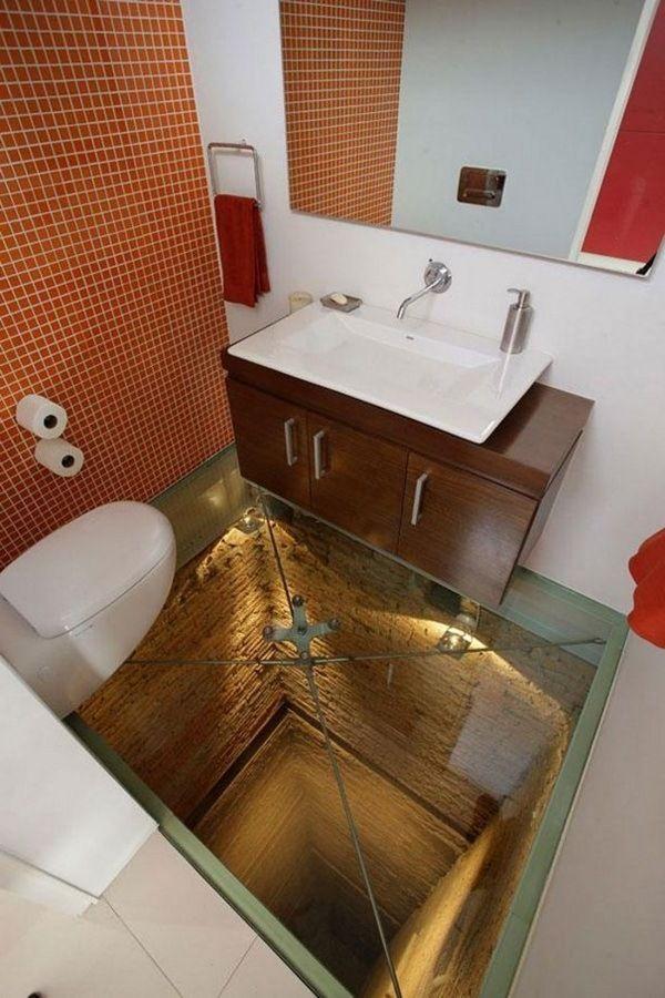 Interesting Bathroom Design Ideas Glass Bottom Creative Design