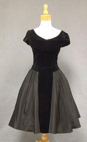 Black Taffeta & Velveteen 1950's Cocktail Dress w/ Shelf Bust