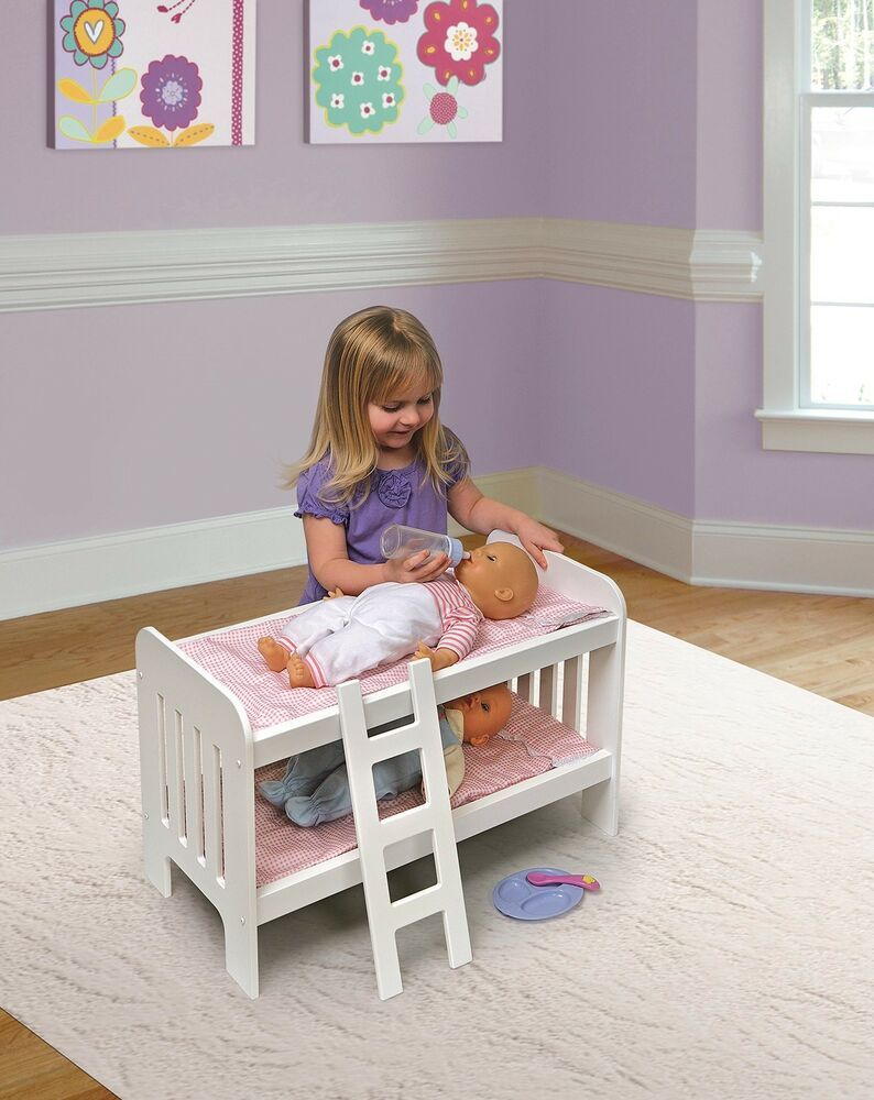 White//Chevron Badger Basket 18595  Chevron Doll Bunk Bed with Bedding and Ladder fits American Girl Dolls