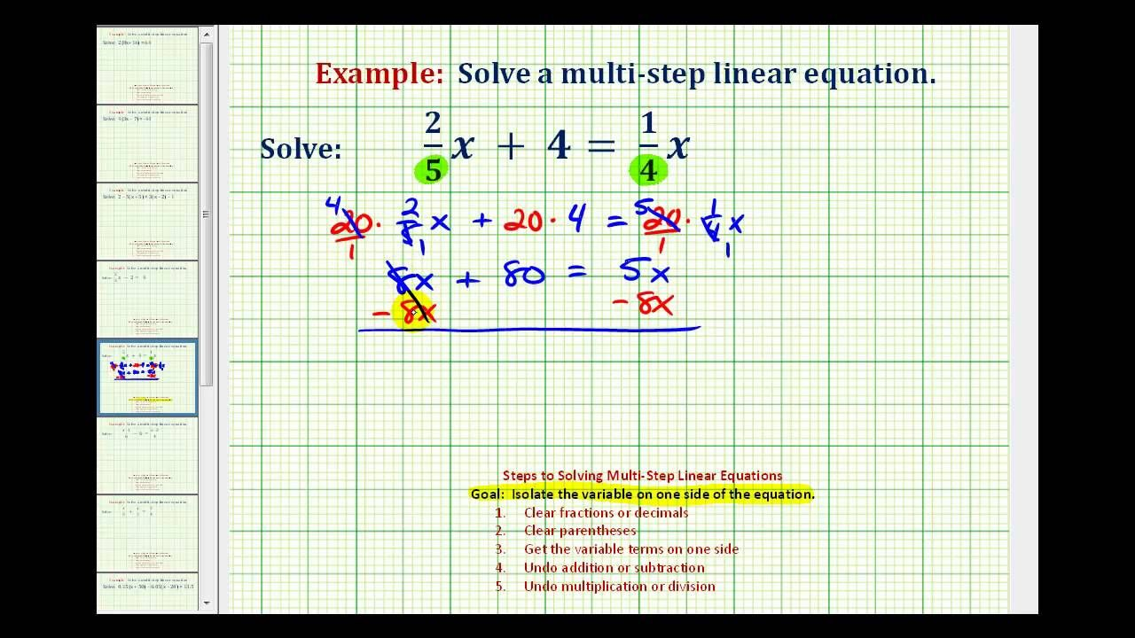 ex 1: solve an equation with fractions with variable terms on both