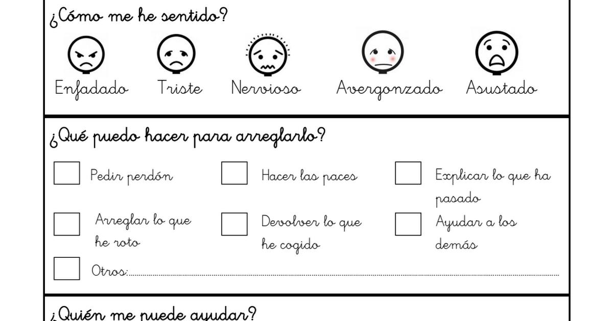 Plantilla resolución de conflictos. Niño.pdf | autoevaluación ...