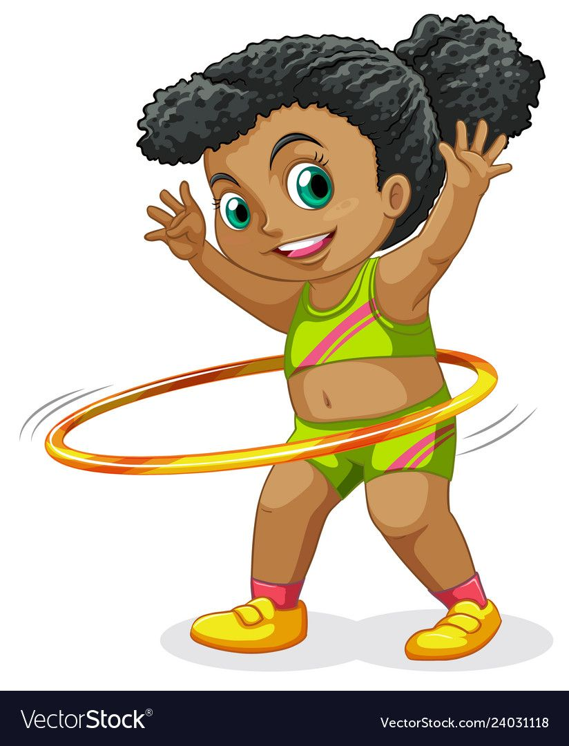 Happy Girl Playing Hula Hoop Illustration Download A Free Preview Or High Quality Adobe Illustrator Ai Eps Pdf And High Resolu Happy Girls Cartoon Hula Hoop