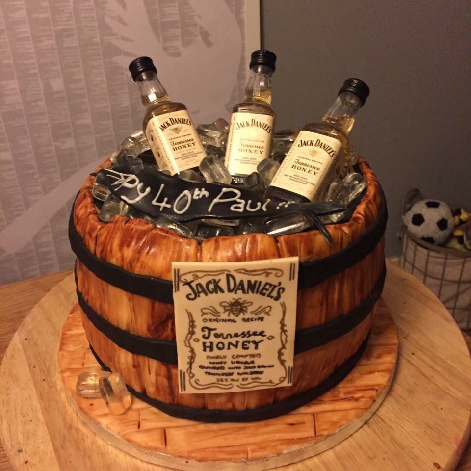 Honey Jack Daniels Barrel Birthday Cake