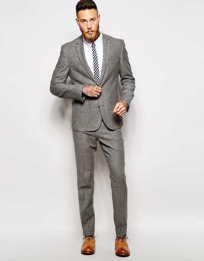2ea7b1b853115 ASOS Slim Fit Suit in Gray Tweed
