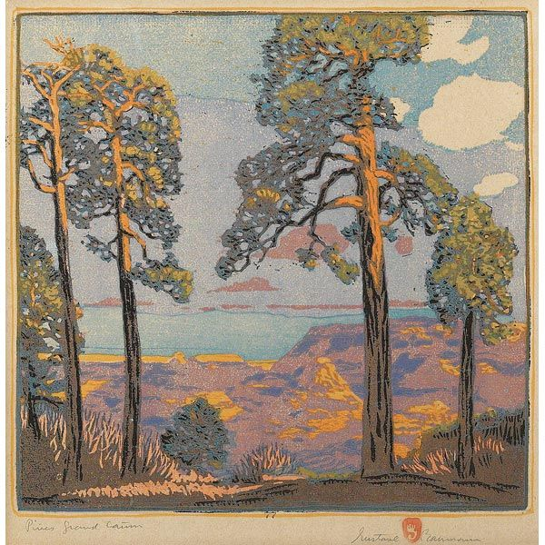 """GUSTAVE BAUMANN: colorful woodblock print, entitled """"Pines Grand Canyon,"""" signed and titled, 13"""" x 13"""", excellent condition"""