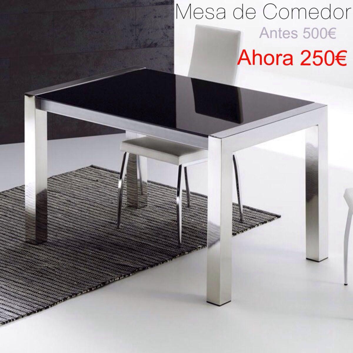 Rebajas Mesa De Comedor 130×80 Cristal Negro Y Cromo Alto Brillo