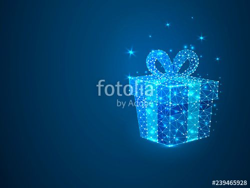 New Year gift with polygon line on abstract background Polygonal space low poly with connecting dots and lines Holiday wireframe concept Connection structure Raster scien...