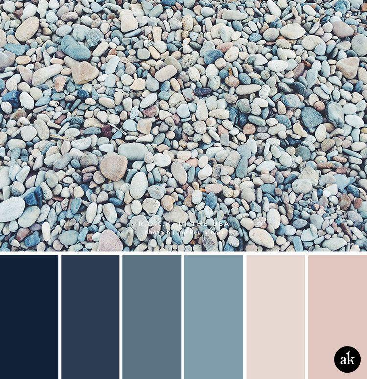 a rock-inspired color palette // navy, indigo, ocean blue, peach (nude), pink