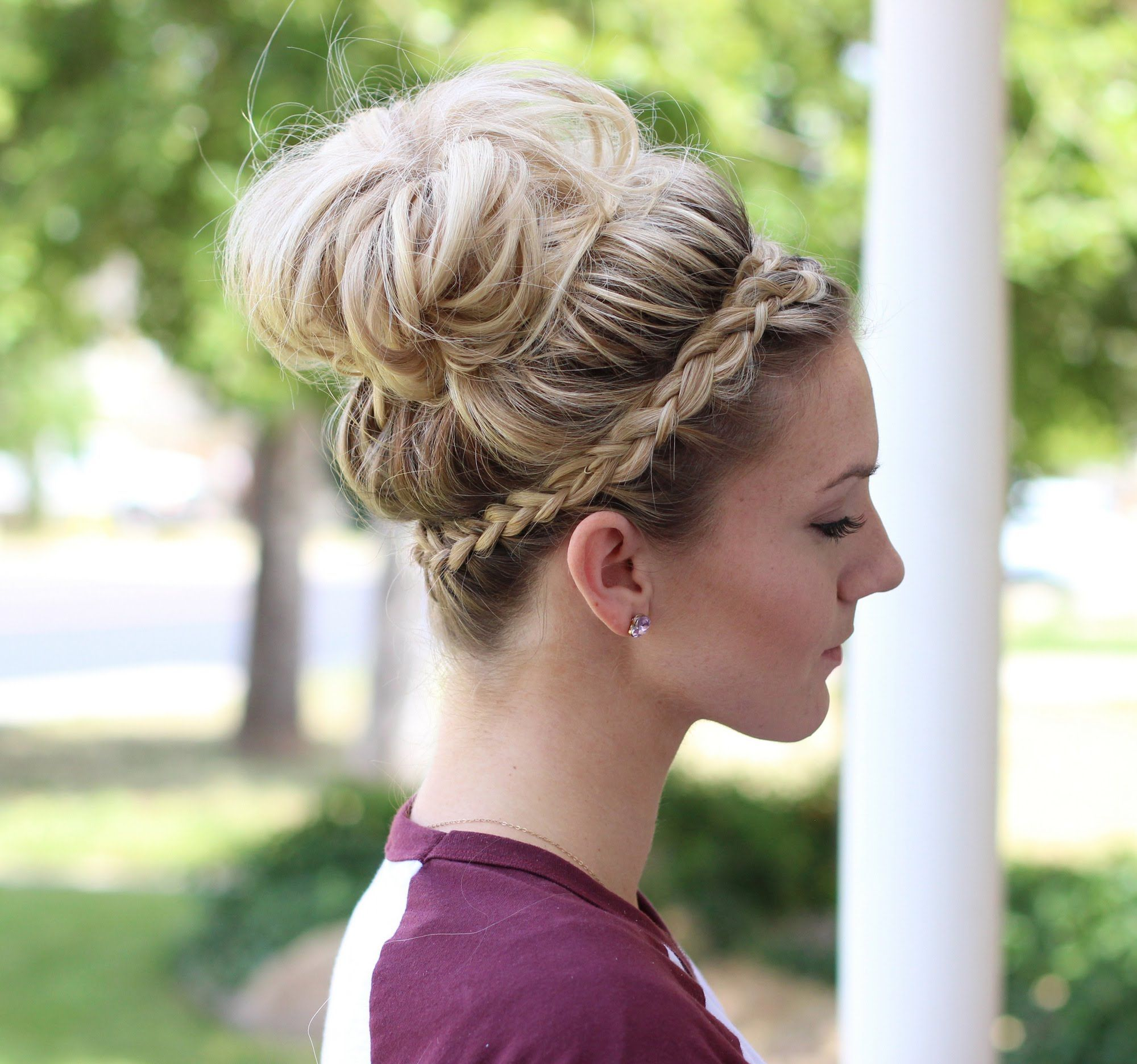 How To Crown Braid Messy Bun Braided Headband Hairstyle