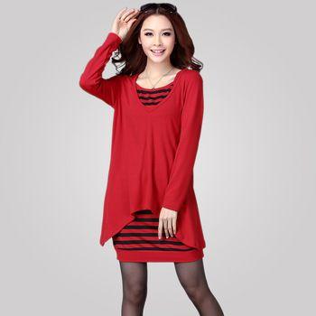 New Arrival Plus size Women 2013 spring Autumn twinset Sweater Long Sleeve Dress 2004 XL, XXL, XXXL, 4XL US $27.70