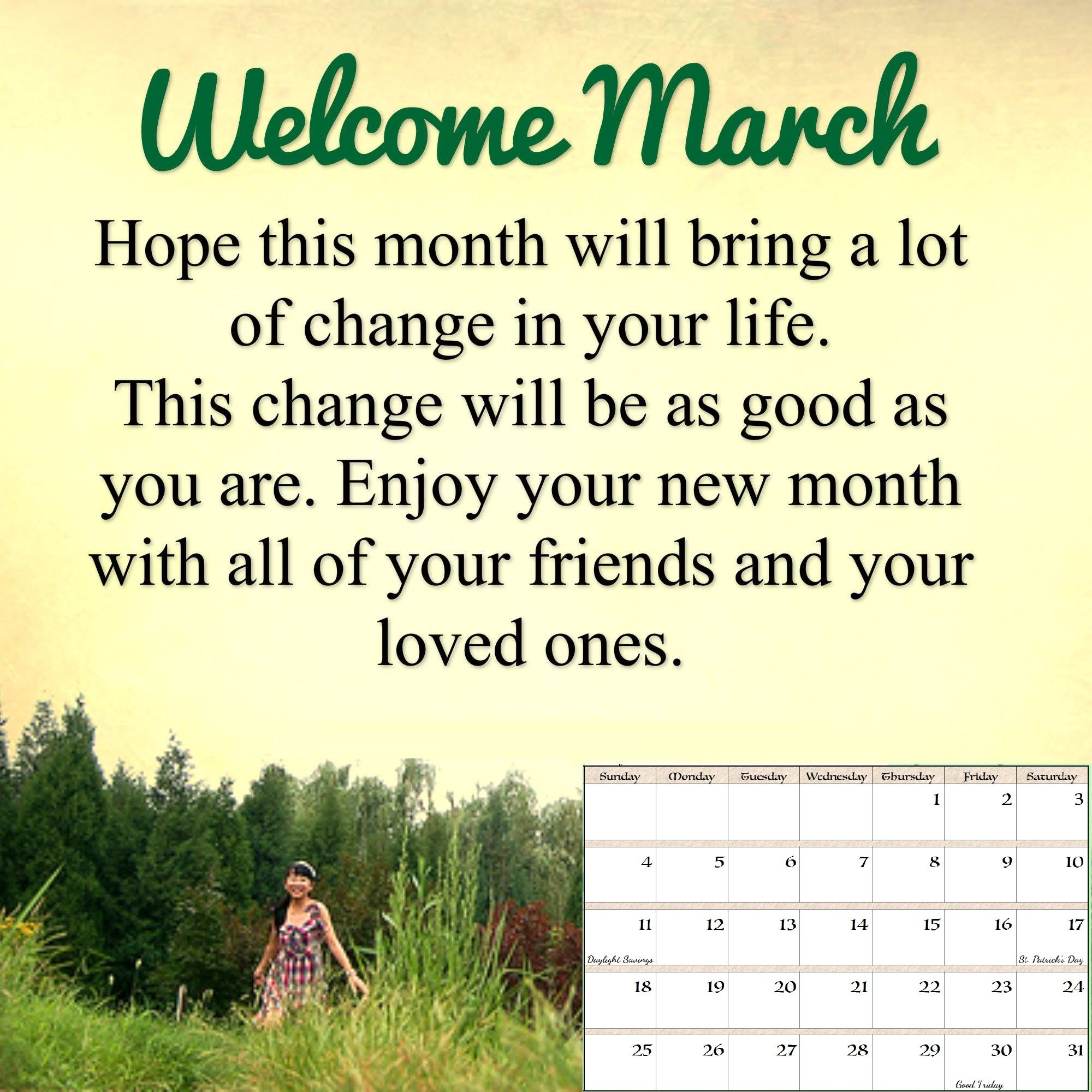March 2018 Quotes Calendar March quotes, Hello