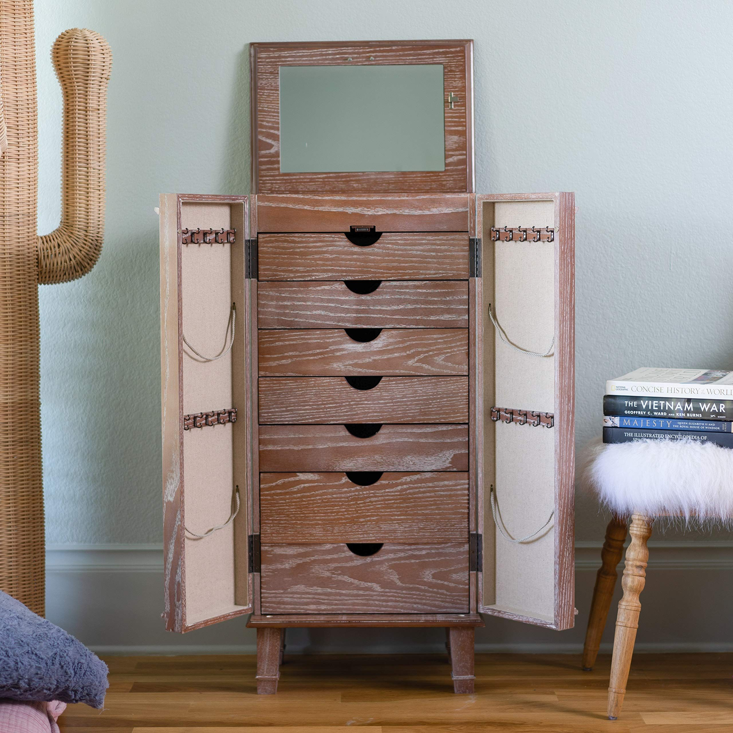 Cabby Fully Locking Standing Jewelry Armoire Cherry Walmart Com Standing Jewelry Armoire Jewelry Armoire Jewellery Storage