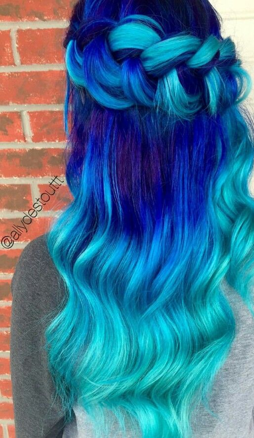 turquoise blue royal ombre dyed