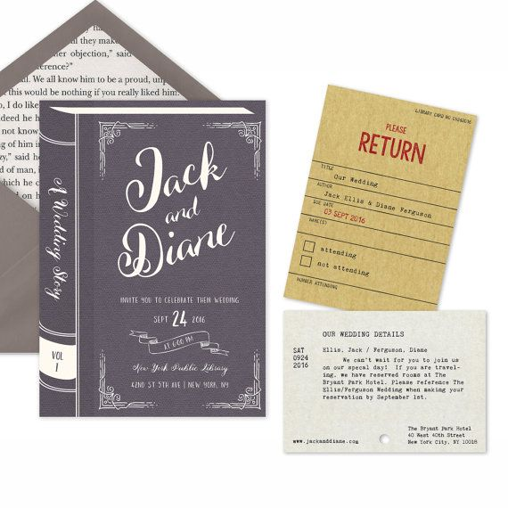 Introducing The Vintage Library Printable Wedding Invitation Suite Featuring Stationary Inspired By A Book Choose From 8