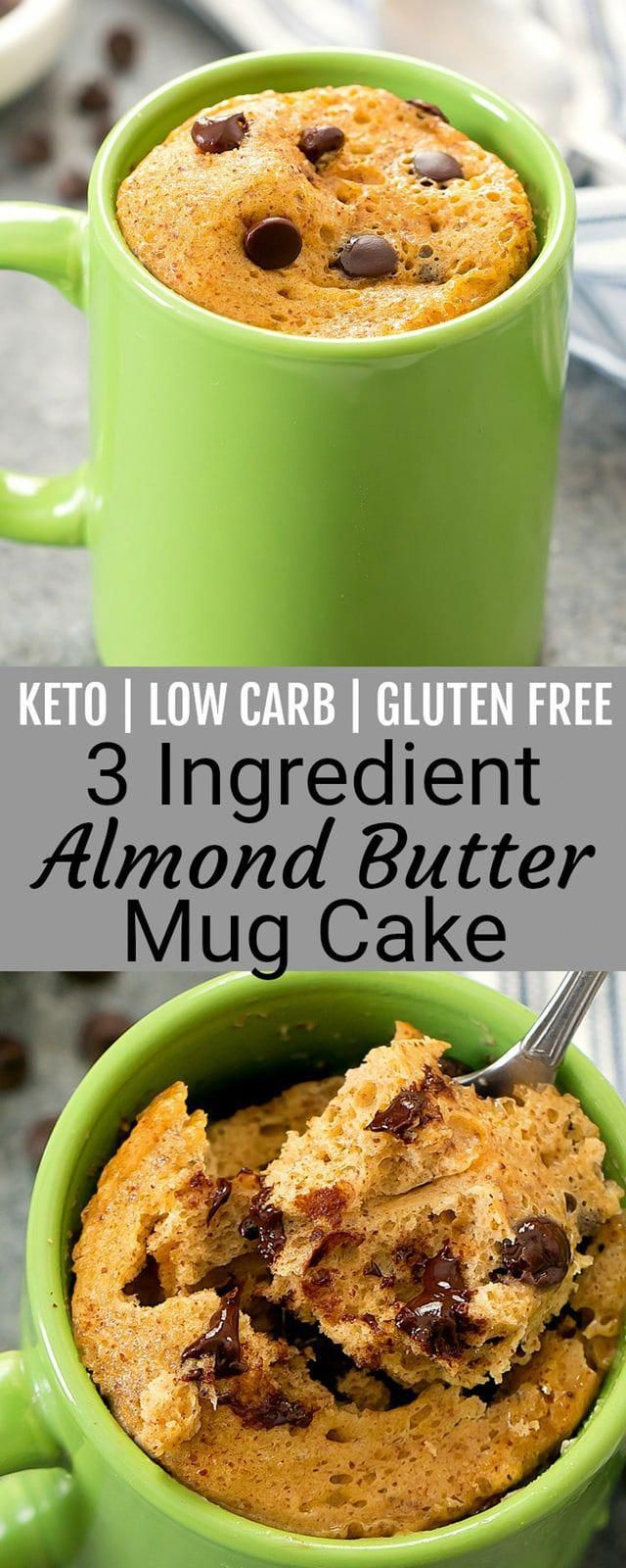3 Ingredient Keto Almond Butter Mug Cake. An easy single serving dessert that is low carb, gluten free and keto friendly. It cooks in the microwave and is ready in about 5 minutes. #LowCarbNoCarbRecipes #proteinmugcakes
