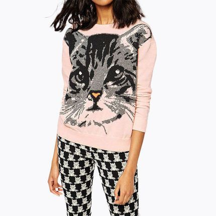 Cartoon Cat Face Printed Long-Sleeved Sweater LAVELIQ