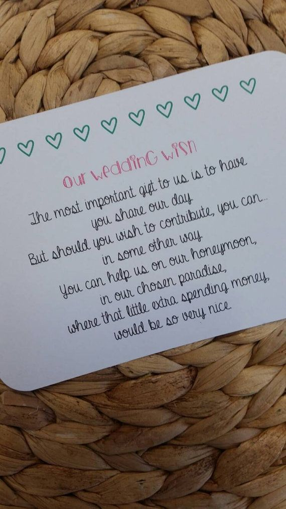 "Wedding Gift Wording For Honeymoon: Can Be For ""Starting Their New Life Together"" ""Honeymoon"
