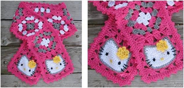 Hello Kitty Crocheted Scarf [FREE Crochet Pattern] | Crochet Baby ...