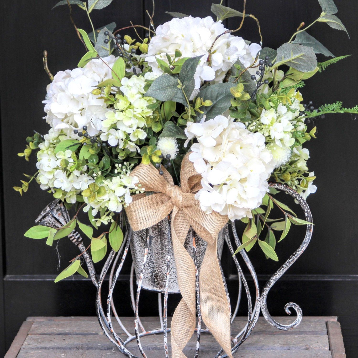 Distressed Watering Can Arrangement Perfect For Spring Coffee Table Flowers Arrangements Large Flower Arrangements Coffee Table Flowers