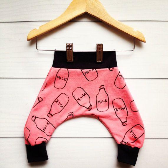 SALE!!! Pink Milk jug baby harem pants, Modern Baby Harem Pants, Baby lounge pants, baby MC hammer pants, lounge,   modern milk jug fabric