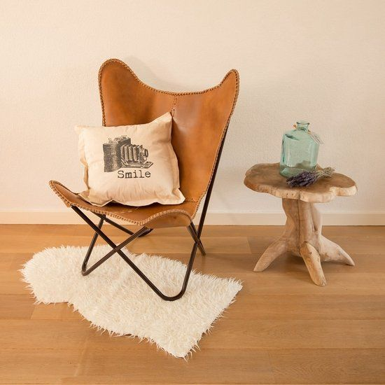 FUJL Butterfly Chair - Vlinderstoel - leder - Cognac | Butterfly chair