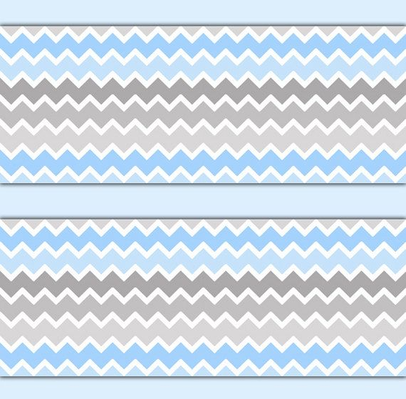 Blue Grey Ombre Chevron Wallpaper Border Wall Decals Boy Nursery Art