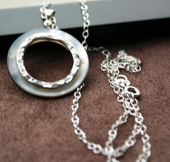 Eclipse Lunar Necklace Sterling Silver Mother of Pearl by Woojoo