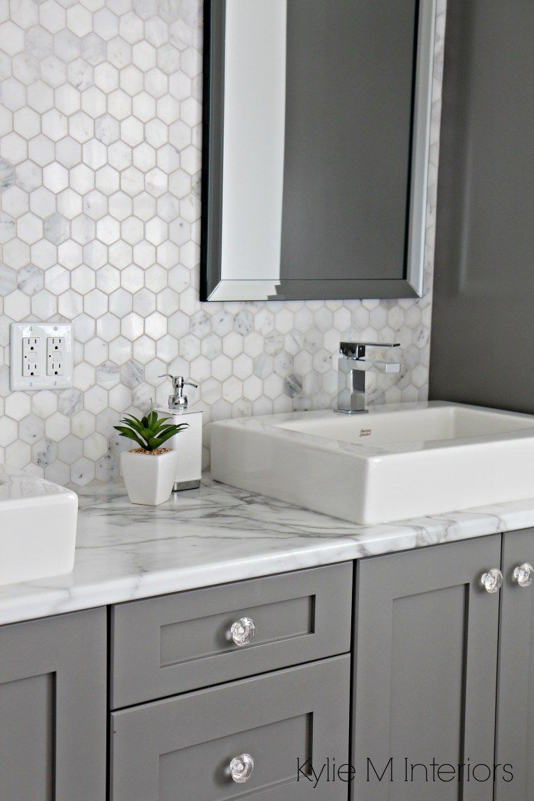 A marble inspired ensuite bathroom budget friendly too - Black marble bathroom countertops ...
