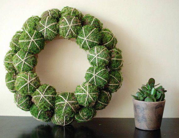 Photo of Items similar to natural christmas wreath / wreaths / farmhouse wreath / moss winter wreath / scandinavian wreath / minimalist wreath on etsy