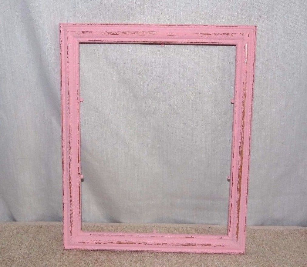 Pink Distressed Wood Picture Frame, 8 x 10, Hand painted, wall decor ...
