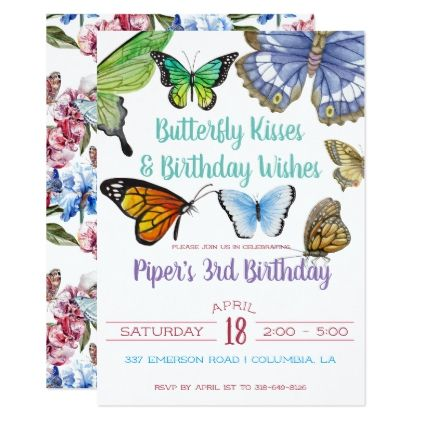 Butterfly kisses birthday party card birthday cards invitations butterfly kisses birthday party card birthday cards invitations party diy personalize customize celebration bookmarktalkfo Image collections