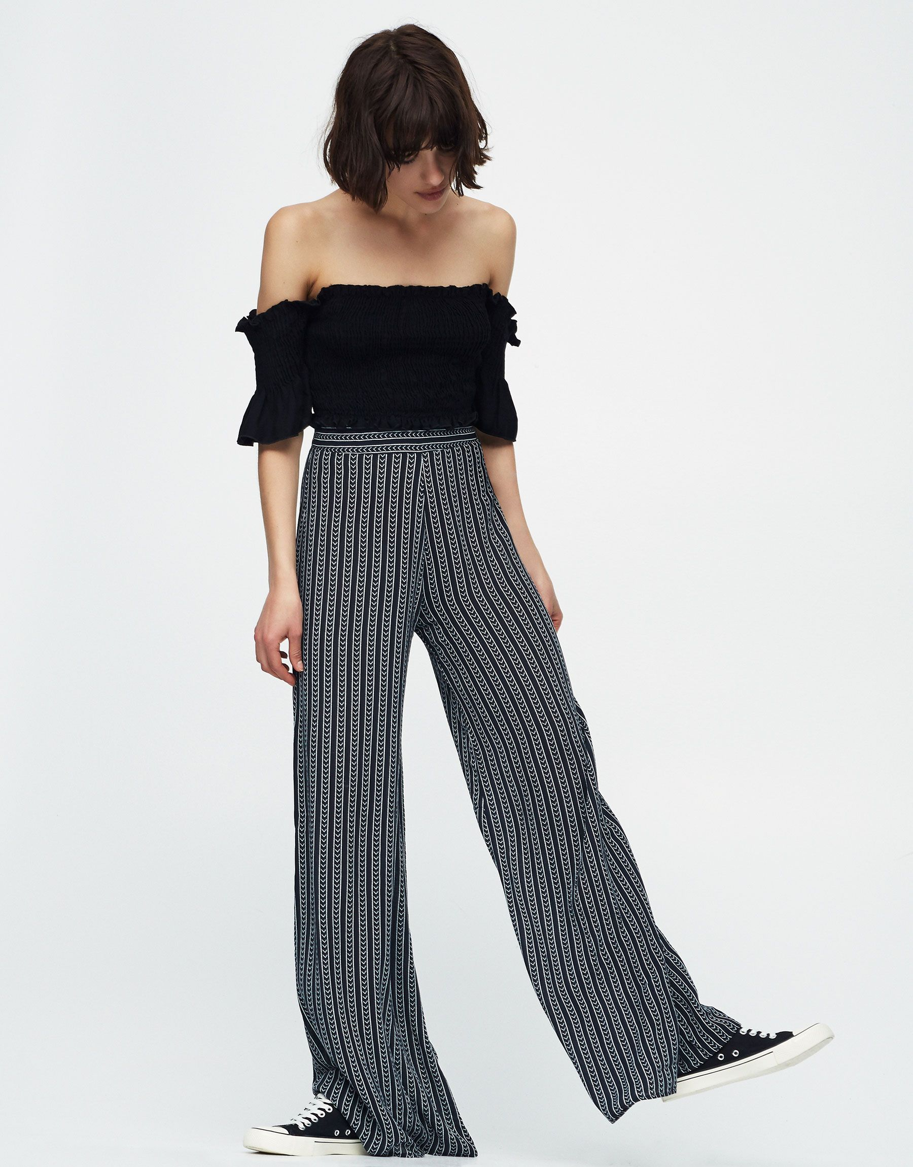 b83e7efbc Palazzo trousers - Trousers - Clothing - Woman - PULL&BEAR Egypt ...