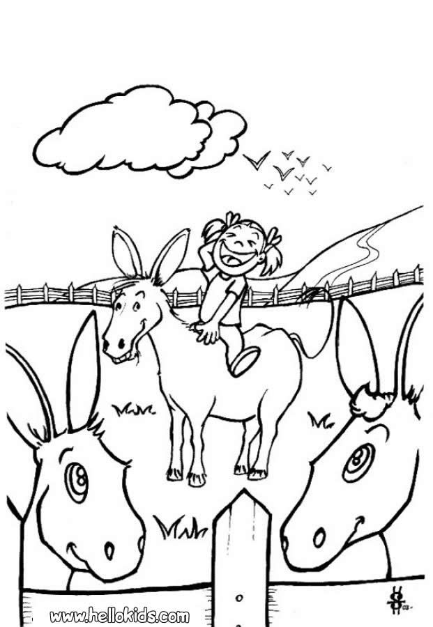 Donkey and girl coloring page