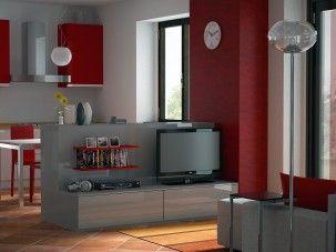 Progettazione d open space render zona cucina lavaderos