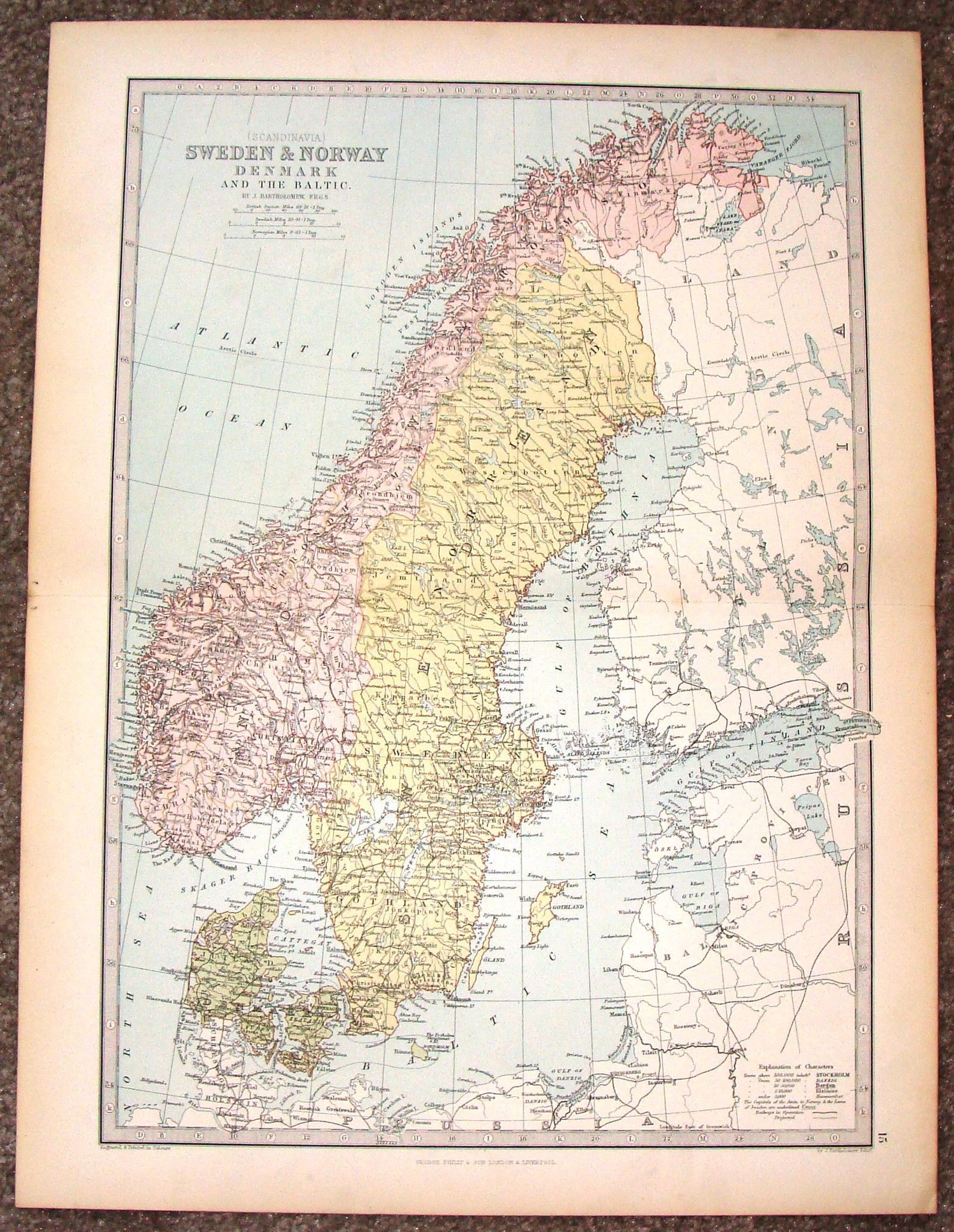 Antique map sweden norway denmark and the baltic by fine colored lithograph map by j bartholomew published by george philip son of london in about 1875 the map is in very good condition gumiabroncs Images