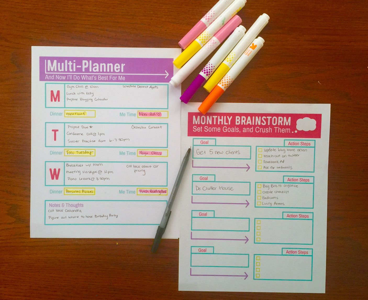 Free Printable Download Multi Planner Amp Monthly