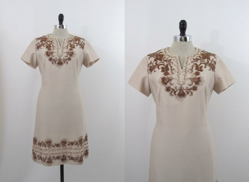 1960s Dress Beaded Shift with Matching Beaded Sweater M L. $168.00, via Etsy.