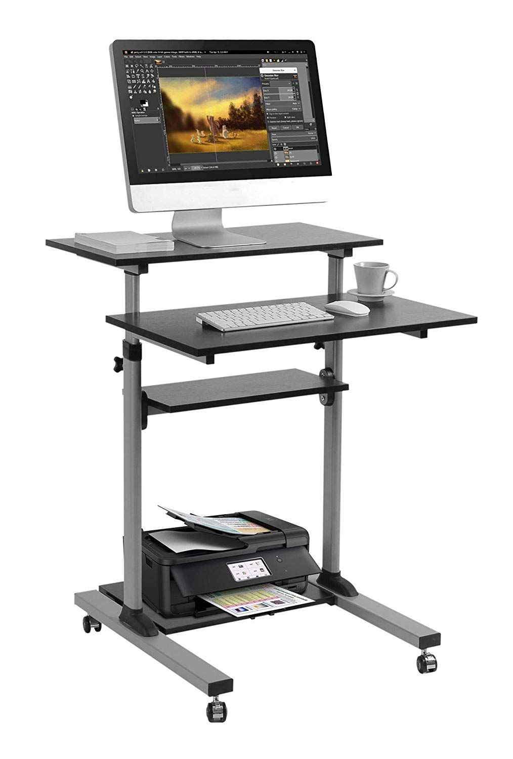 Techorbits Rolling Workstation Mobile Desk Adjustable Height Desk Mobile Standing Desk