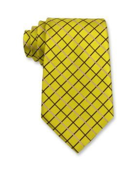 Izod Men's Grid Pattern Tie - Yellow - One Size